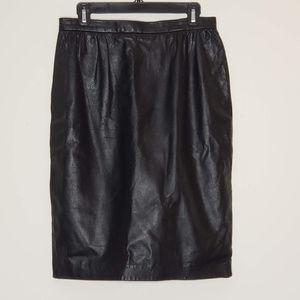 Vintage black genuine leather pencil skirt